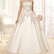 Золотая вышивка на свадебном платье