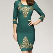 Золотая вышивка на вечернем платье